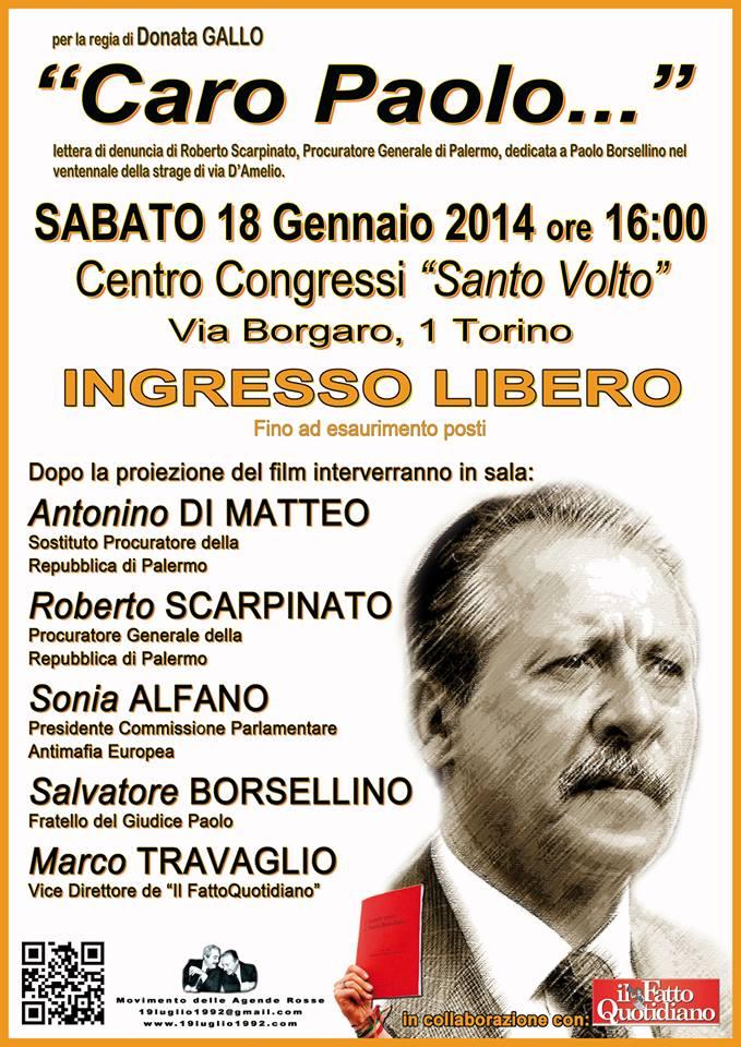 Paolo Borsellino: Incontro / Dibattito a Torino