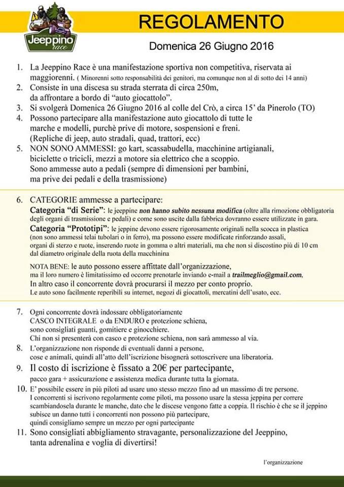 Regolamento Jeppino Race a Pinerolo (TO)