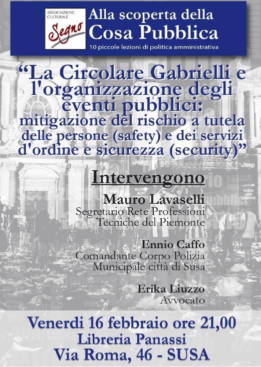 LA CIRCOLARE GABRIELLI E L'ORGANIZZAZIONE DEGLI EVENTI PUBBLICI
