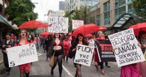 Manifestazione per richiedere i diritti delle prostitute negli Stati Uniti.